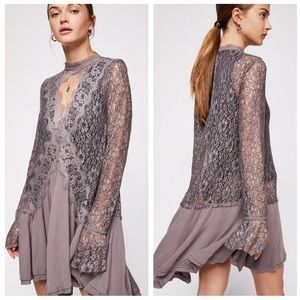 NWT Free People Secret Origins Pieced Lace Tunic
